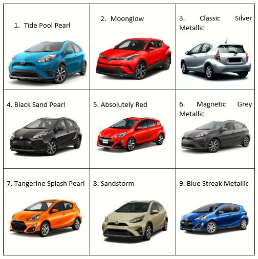 Toyota Aqua 2020 Colors