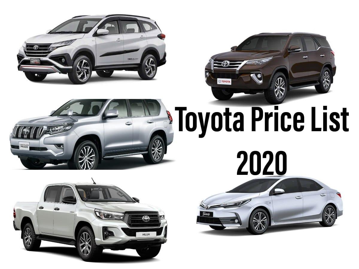 Toyota Cars Price in Pakistan 2020
